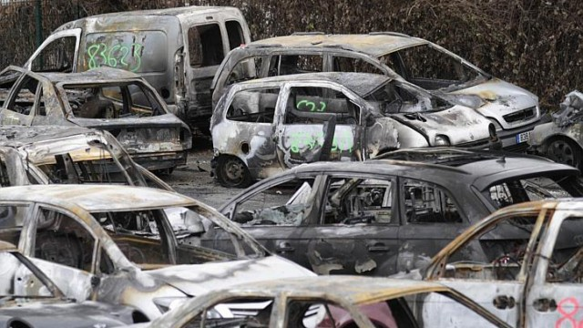French New Year Celebration by Burning Cars