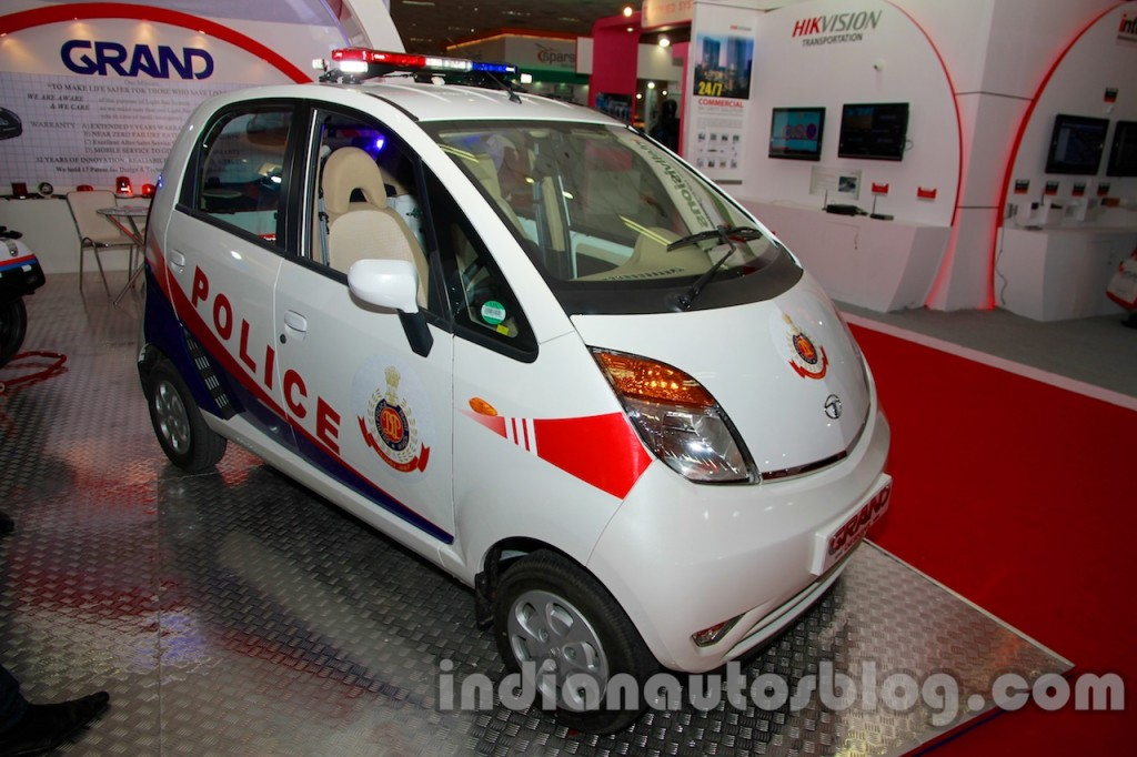 Tata-Nano-police-patrol-vehicle-front-three-quarters-left