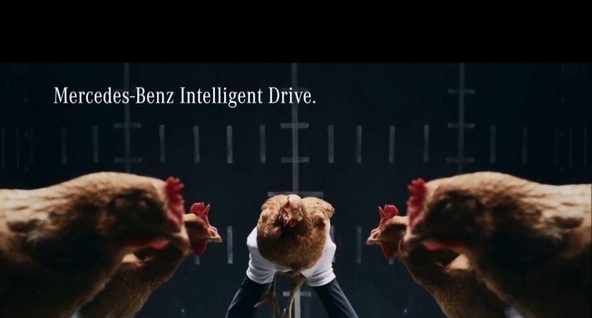 jaguar takes on mercedes chicken advertisement. Black Bedroom Furniture Sets. Home Design Ideas