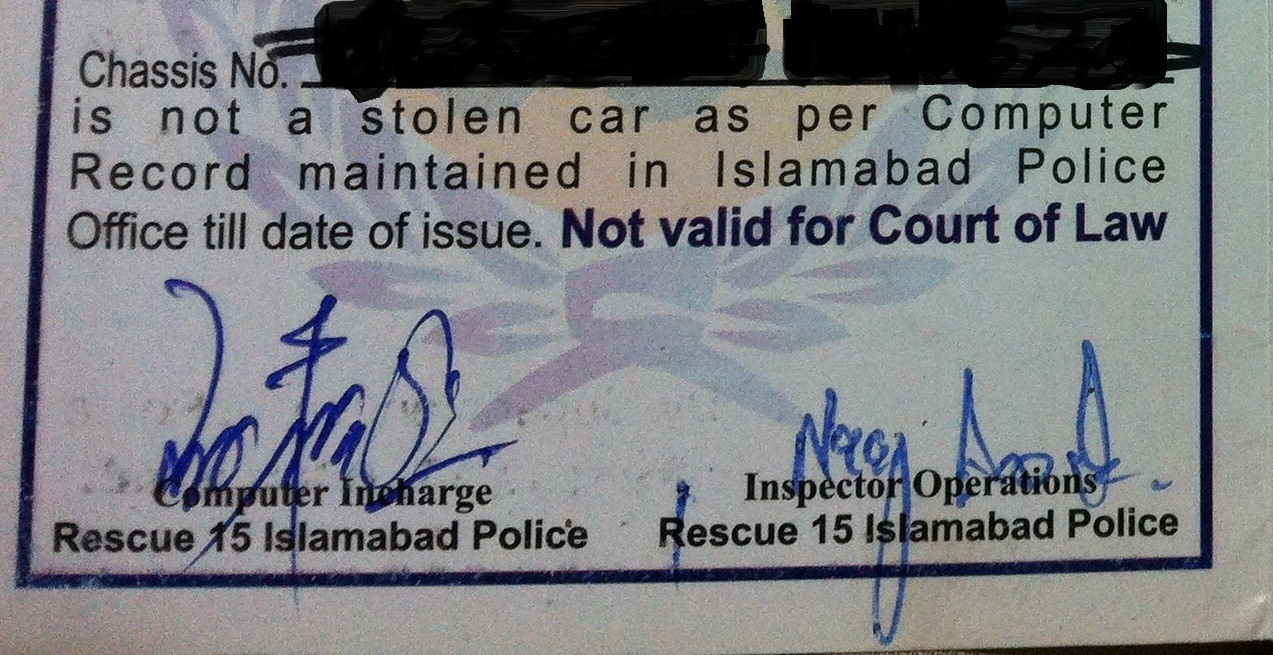 Vehicle verification services in Pakistan, and the risks that remain