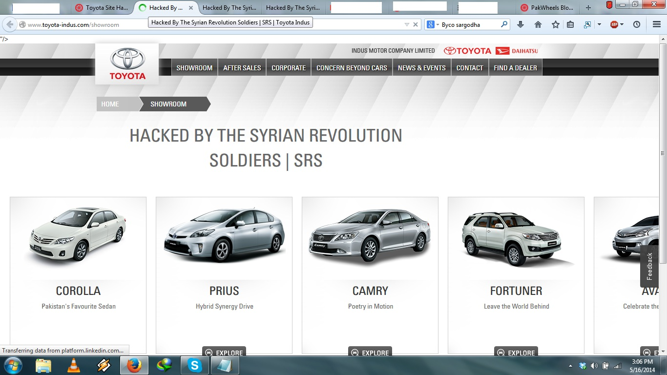Indus Motors website hacked by Syrian Revolution Soldiers