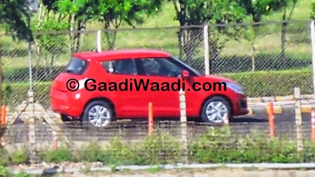 Maruti-Swift-facelift-spied-India-red-side