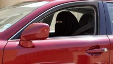 A woman drives a car in Saudi Arabia