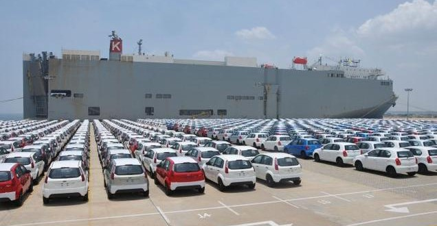 cars at sea port