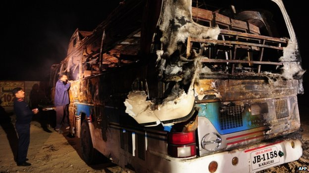 The ill fated bus after the accident. Courtesy BBC/AFP