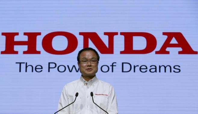 Honda Motor Co's President and Chief Executive Officer Takanobu Ito speaks during a news conference regarding their motor sports activities, in Tokyo