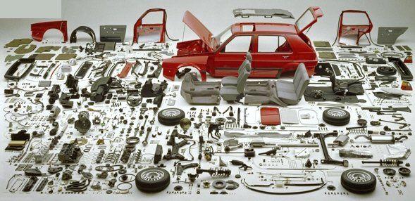dismantled car
