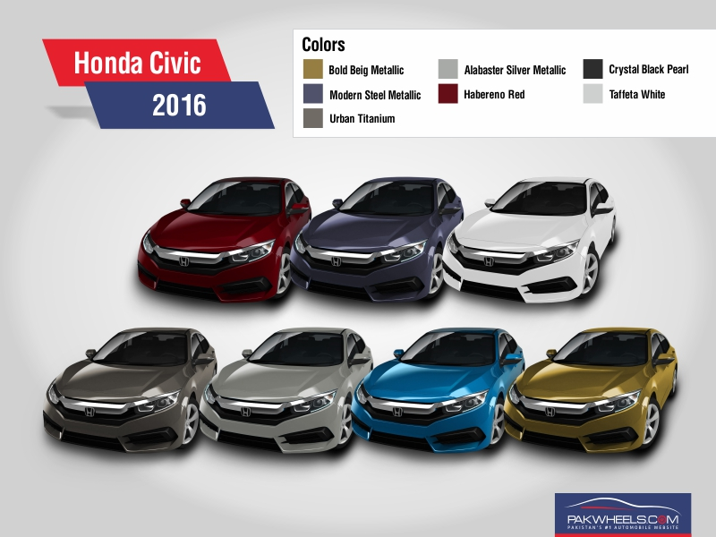 2016 honda civic revealed in all 7 colors pakwheels blog. Black Bedroom Furniture Sets. Home Design Ideas