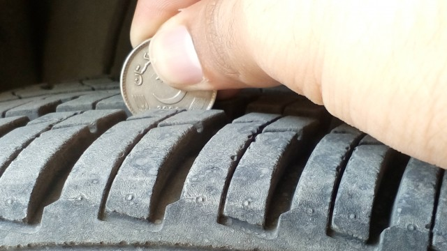 car tyres coin test
