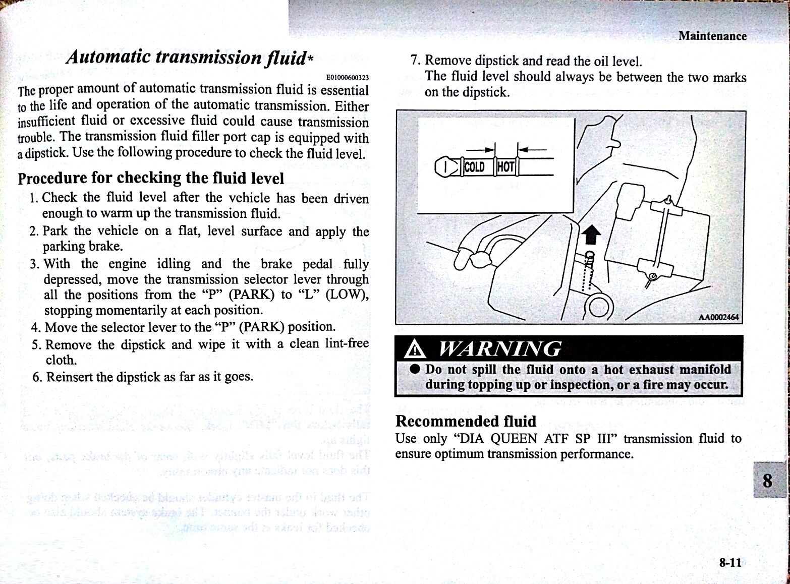 Mitsubishi Lancer Owner's Manual