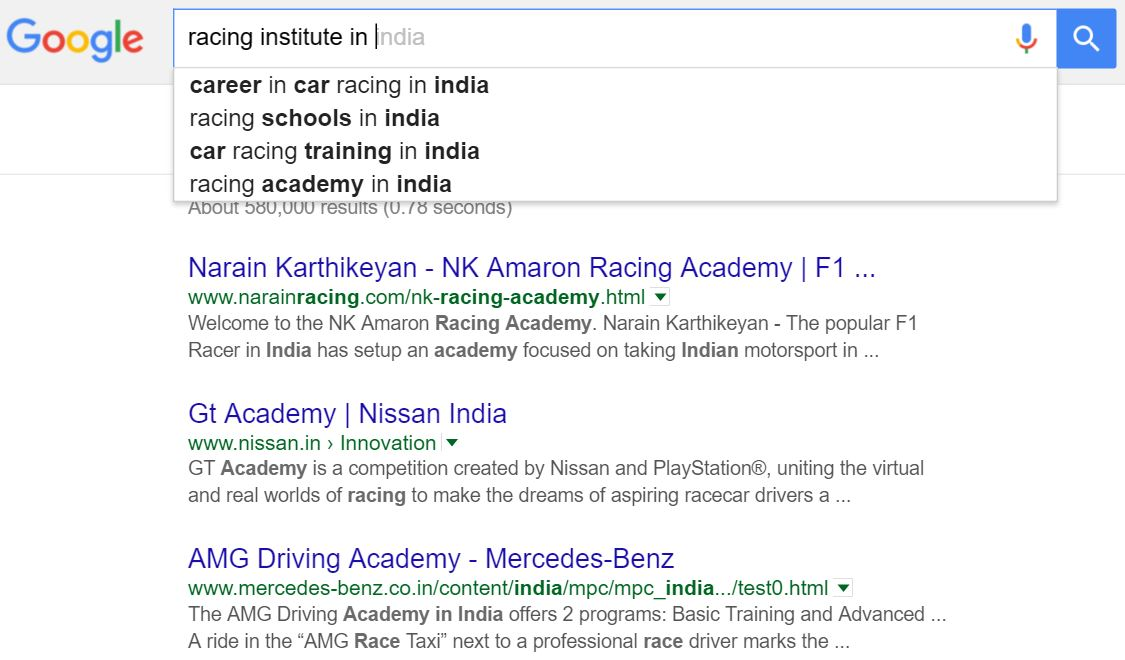 Google results for 'racing schools'