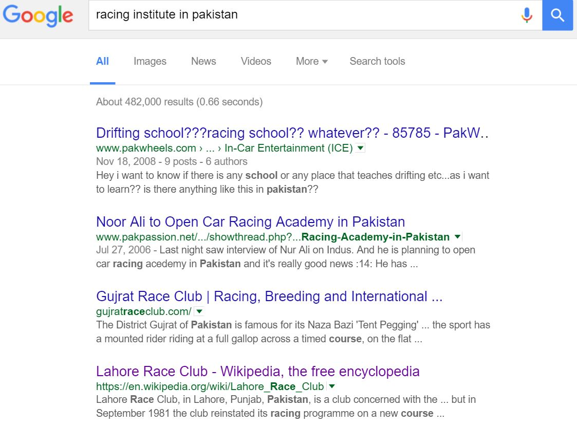 Google search results for racing institutes in Pakistan