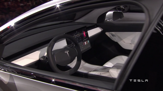 Tesla Model 3 interior during beta unveil back in March 2016