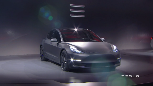 Tesla Model 3 during its beta unveil on March 2016