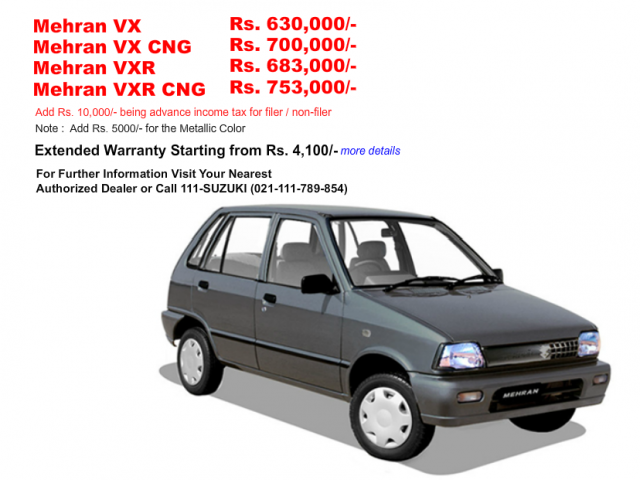 Mehran Price list