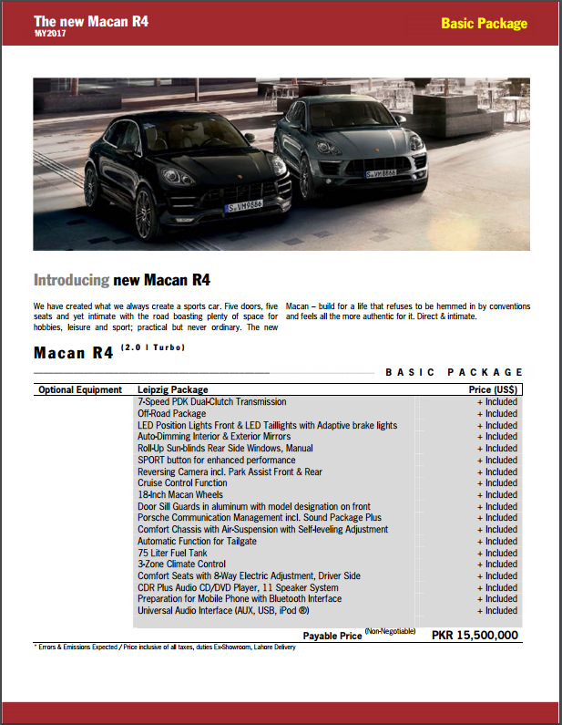 2017 Porsche Macan in Pakistan
