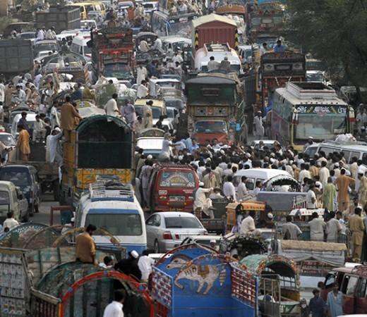 Vehicles-in-a-traffic-jam-Pakistan
