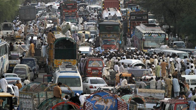 Vehicles-in-a-traffic-jam-Pakistan