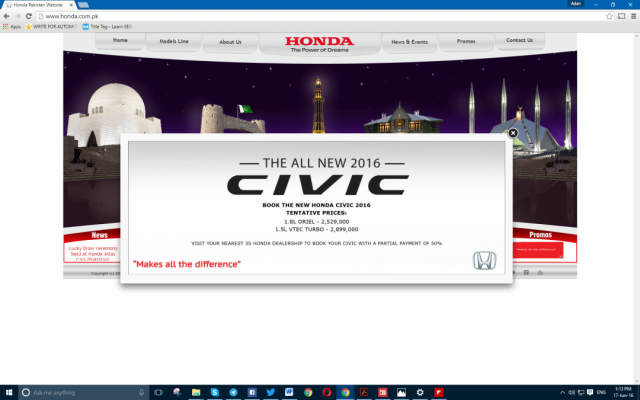 Honda's website updated to show Civic 2016's updated pricing