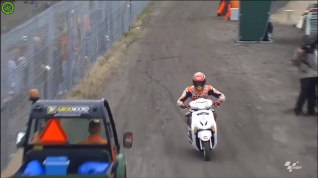 Marc Marquez Crash Steals a scooter
