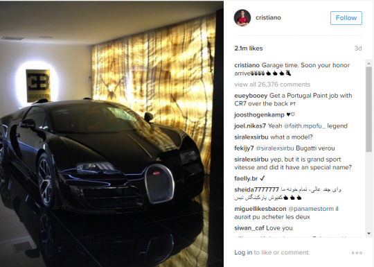 Bugatti Ronaldo Instagram Post