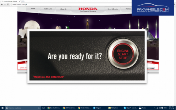 Honda Atlas teases 2016 Civic launch on their website