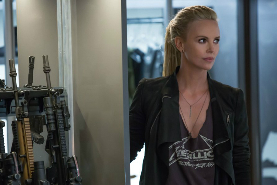 Charlize Theron on the set of Fast and Furious 8