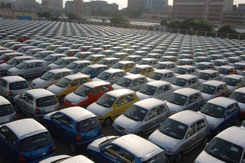 Hyundai cars are seen ready for shipment at a port in the southern Indian city of Chennai