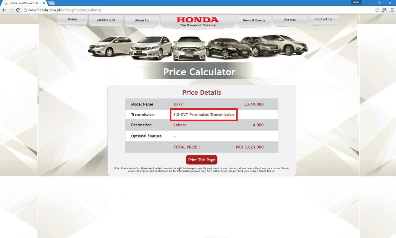 Wrong information displayed on Honda Atlas HR-V's price calculator