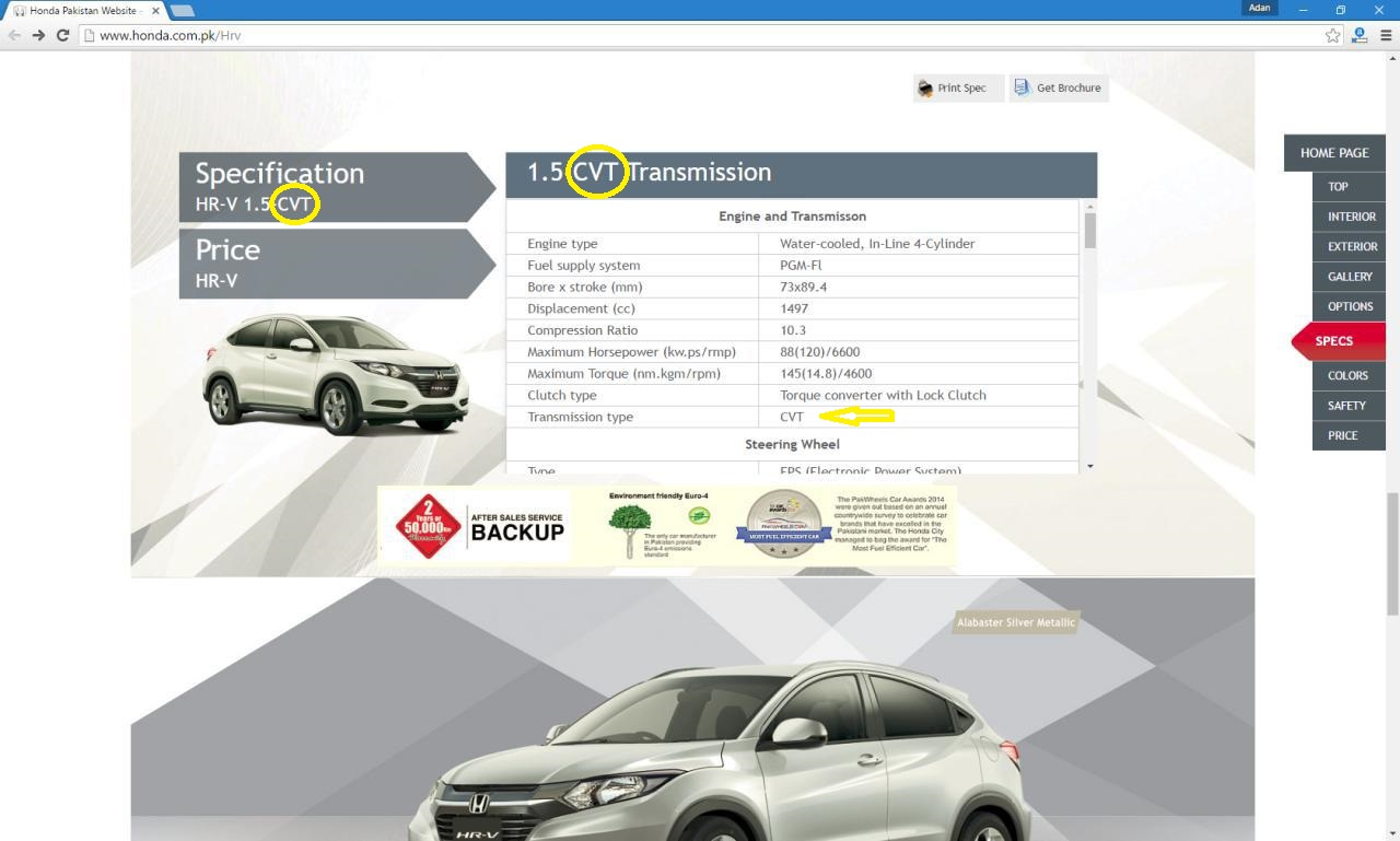 The correct information on the spec-sheet of HR-V despite the prevailing errors on its price calculator