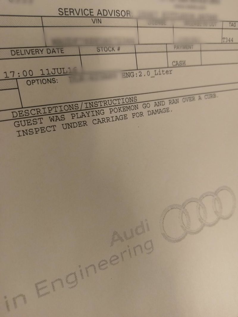 Audi Service Center's bill which had Pokemon GO mentioned as a reason for the crash