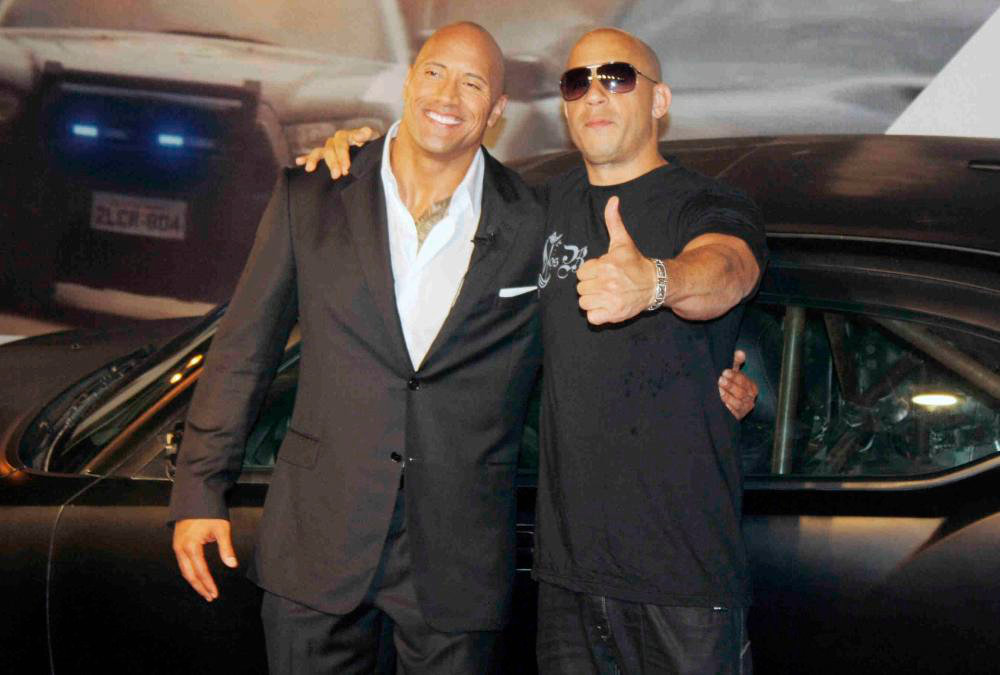 vin diesel and the rock fast and furious 8
