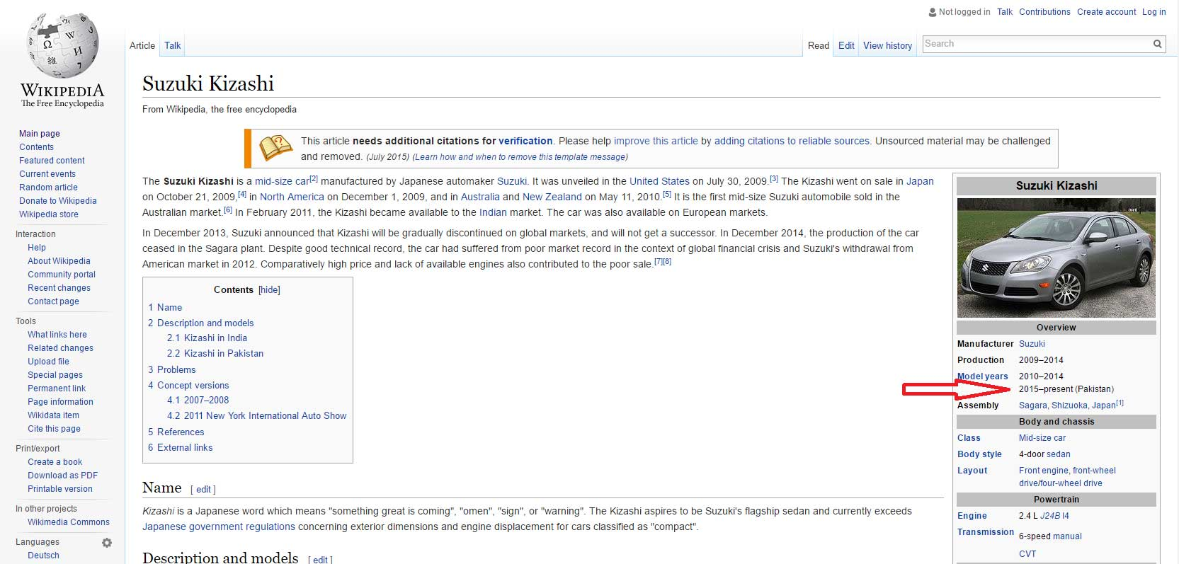 Wikipedia deals Pak Suzuki's Kizashi as a special case!
