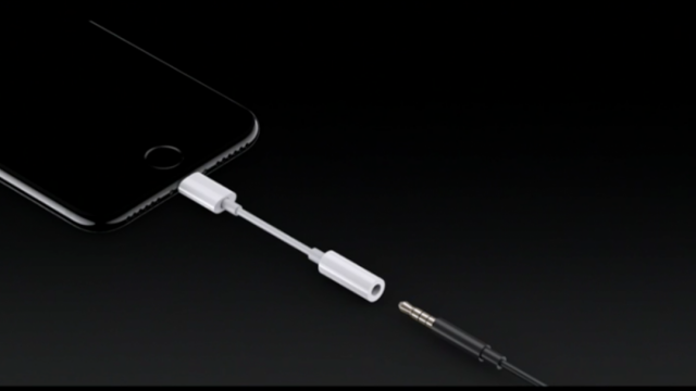 iPhone 7 with Lightning-to-Aux Adapter