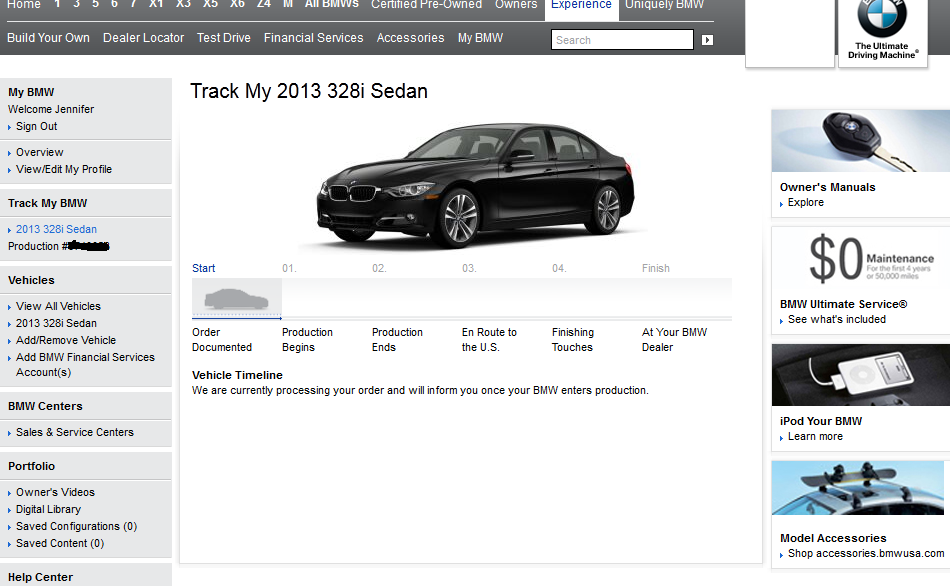 BMW delivery status tool