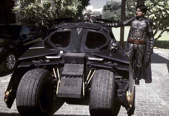 Shaheer with his Batmobile