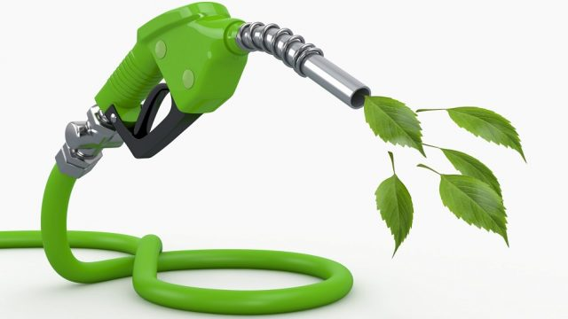 Green conservation. Gas pump nozzle and leaf