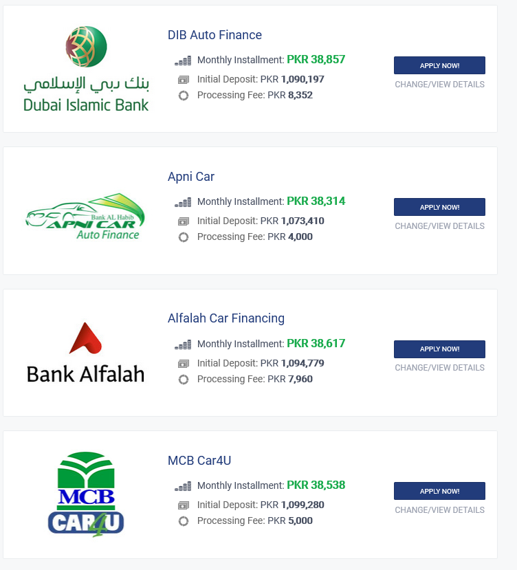 Bank al habib car financing calculator in pakistan