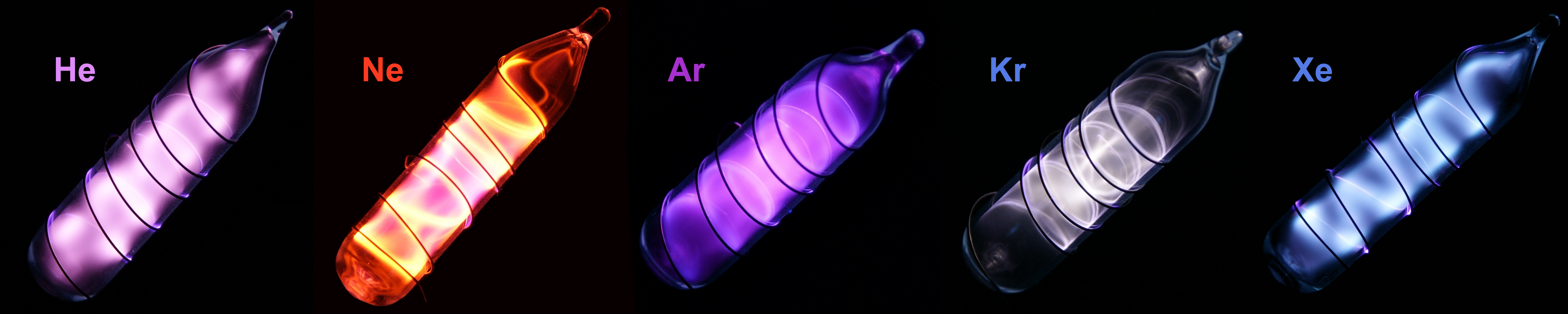 Glow of various noble gases including Xenon (Xe)