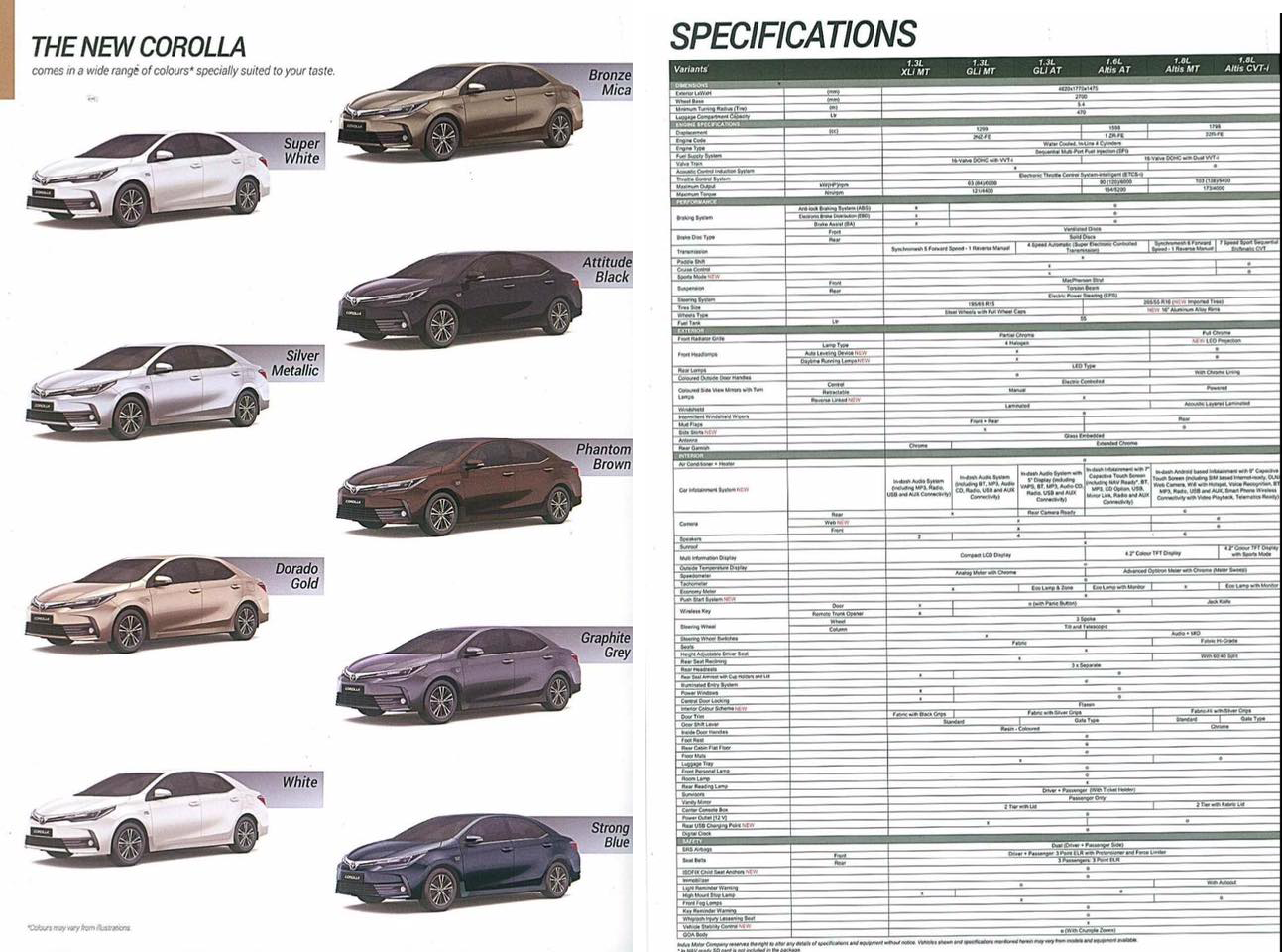 Toyota Corolla 2017 brochure-spec-sheet