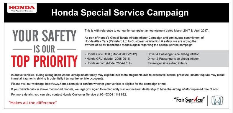 Honda Pakistan Airbag Print Ad