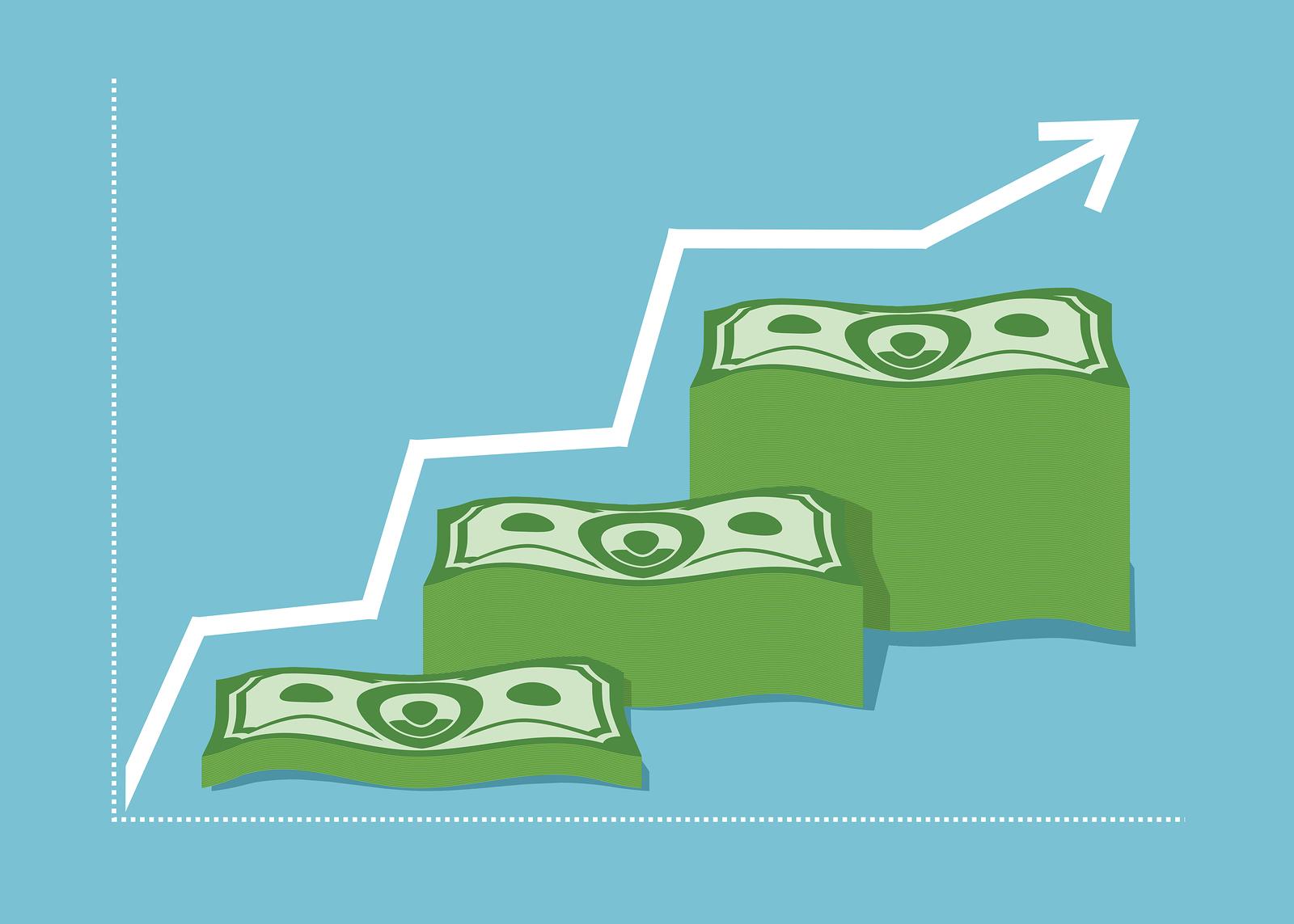 Graph Money dollar. Increase revenue. The company profits. A pil
