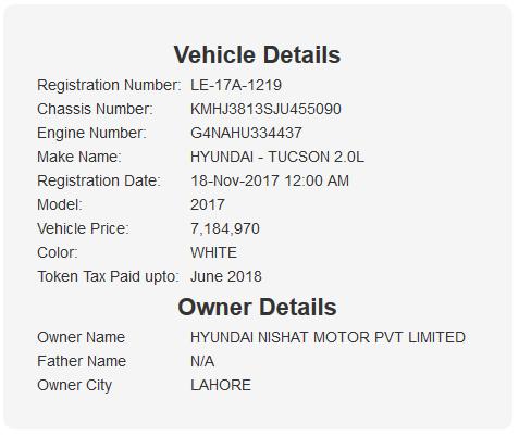 Hyundai Tucson Reg Details