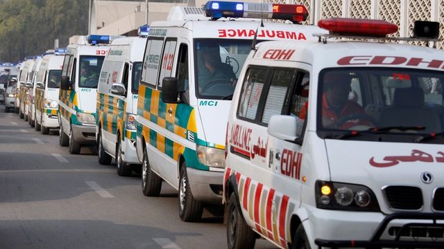 Ambulances carry caskets of the plane crash victims upon arrival at local hospital in Islamabad, Pakistan, Thursday, Dec. 8, 2016. Pakistani military helicopters ferried remains of plane crash victims to the capital, Islamabad, as aviation authorities said they opened a probe into the crash that killed 47 passengers and crew the day before in the country's northwest. (AP Photo/Anjum Naveed)