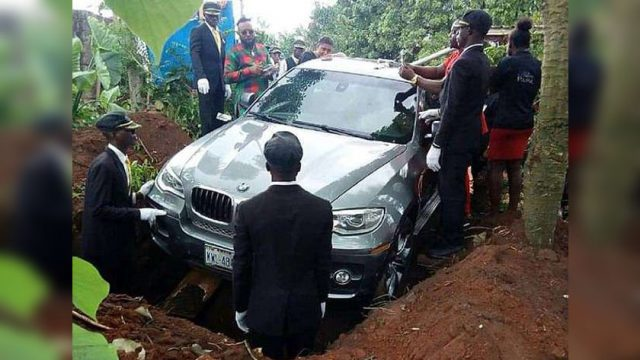 Nigerian man buries his father in a BMW