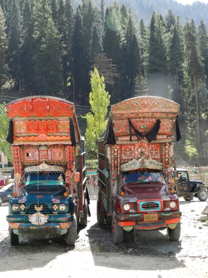 Two Bedford trucks in Kalam, Swat