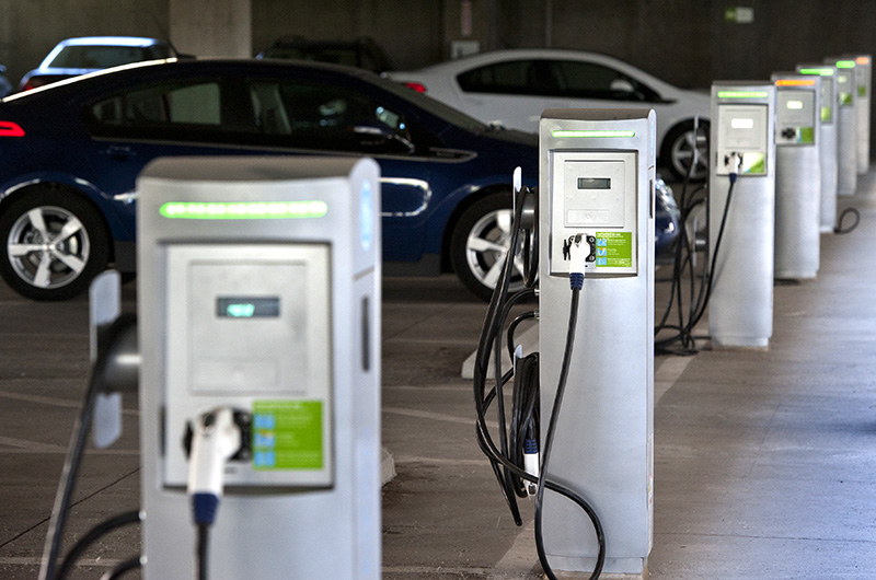 July 23, 2012 - The parking structure on NREL's South Table Mountain campus features electric charging stations for employees. (Photo by Dennis Schroeder / NREL)