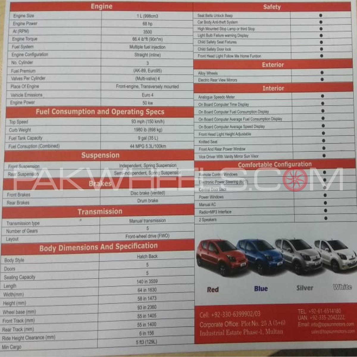 Specs and features of Zotye Z100