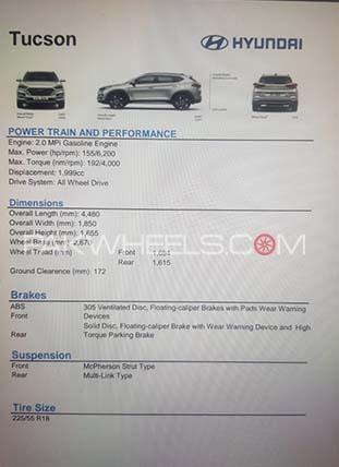 Hyundai Tucson Specs Sheet